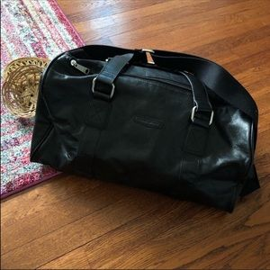 Fossil black leather travel duffle bag